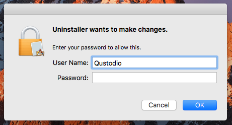 Enter your admin name and password to carry on unistalling Qustodio