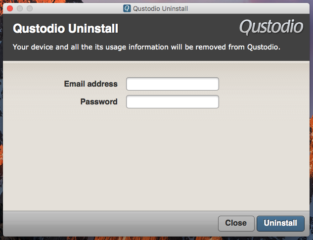 Enter your email and password used in Qustodio to finish uninstalling the program